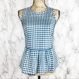 J.CREW gingham peplum blouse size 00